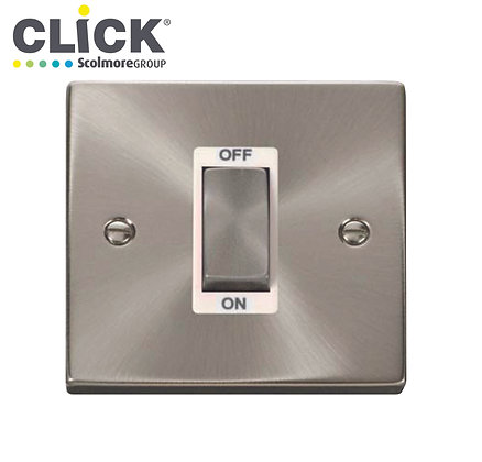 Click Scolmore VPSC500BK Satin Chrome 45A DP 1 Gang Light Switch