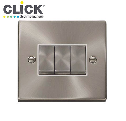 Click Scolmore VPSC413BK Satin Chrome 10A 3 Gang 2 Way Switched Socket