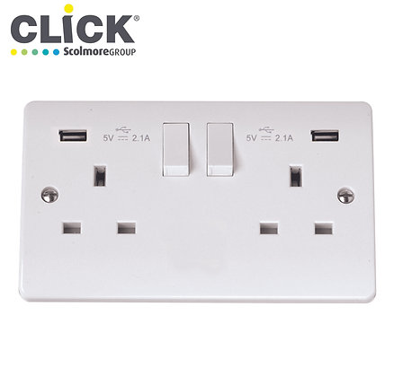 Click Scolmore CMA780 13A 2 Gang Switched Socket C/W Twin USB Outlets