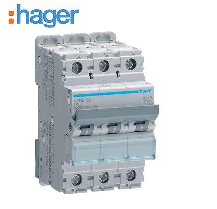Hager NCN316A 16A Three Phase 10Ka Type C MCB