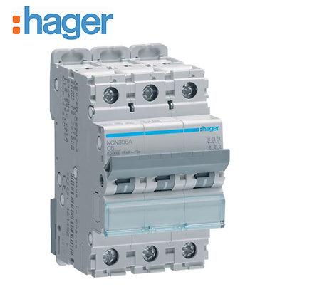 Hager NCN306A 6A Three Phase 10Ka Type C MCB