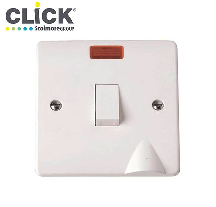 Click Scolmore CMA023 20A DP Switch C/W Neon Flexed Outlet