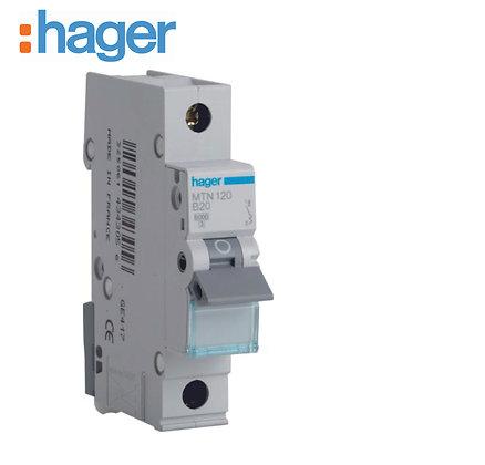 Hager MTN120 20A 6kA Single Phase Type B MCB