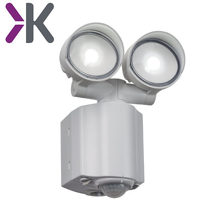 Knightsbridge 230V IP44 2x8W LED Twin Spot White Security Light with PIR