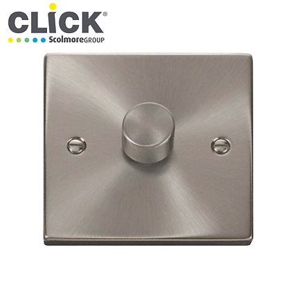 Click Scolmore VPSC140PL Satin Chrome 400W 1 Gang 2 Way Dimmer Switch