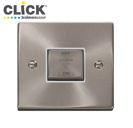 Click Scolmore VPSC520BK Satin Chrome 10A Triple Pole Fan Isolator Switch