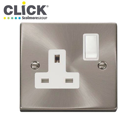 Click Scolmore VPSC035BK Satin Chrome 13A DP 1 Gang Switched Socket
