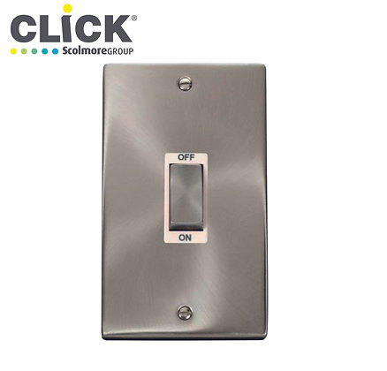 Click Scolmore VPSC502BK Satin Chrome 45A DP 2 Gang Vertical Switch