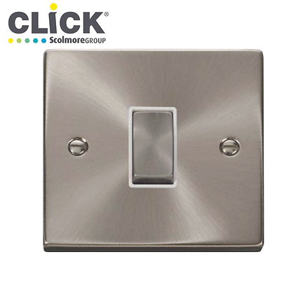 Click Scolmore VPSC411BK Satin Chrome 10A 1 Gang 2 Way Switched Socket
