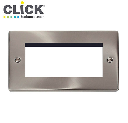 Click Scolmore VPSC312 2 Gang 4 Euro Module Front Plate Satin Chrome