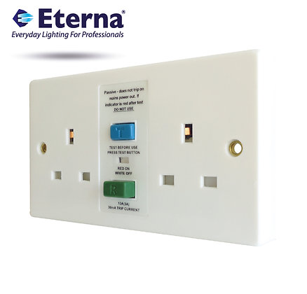 Eterna TWSRCDWH 2 Gang RCD Unswitched Socket