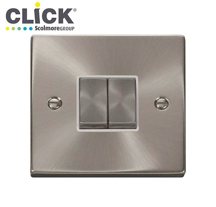 Click Scolmore VPSC412BK Satin Chrome 10A 2 Gang 2 Way Switched Socket