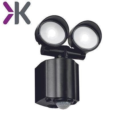 Knightsbridge 230V IP44 2x8W LED Twin Spot Black Security Light with PIR