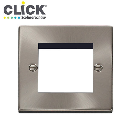 Click Scolmore VPSC311 1 Gang 2 Module Front Plate Satin Chrome