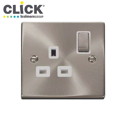 Click Scolmore VPS536BK Satin Chrome 13A DP 2 Gang Ingot Switched Socket