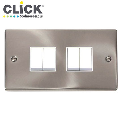 Click Scolmore VPSC019BK Satin Chrome 10A 4 Gang 2 Way Switch