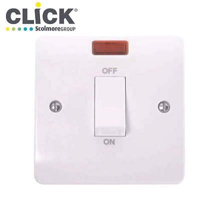 Click Scolmore CMA501 45A DP 1 Gang Switch C/W Neon