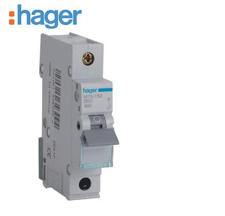 Hager MTN150 50A 6kA Single Phase Type B MCB