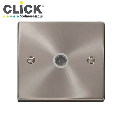 Click Scolmore VPSC065BK Satin Chrome 1 Gang Non Isolated Coaxial Socket