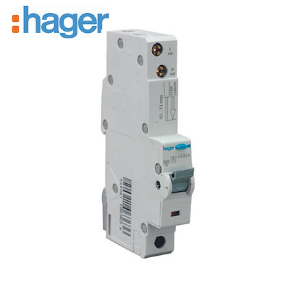 Hager ADA166U 16A 30mA 10kA Single Phase C Type RCBO