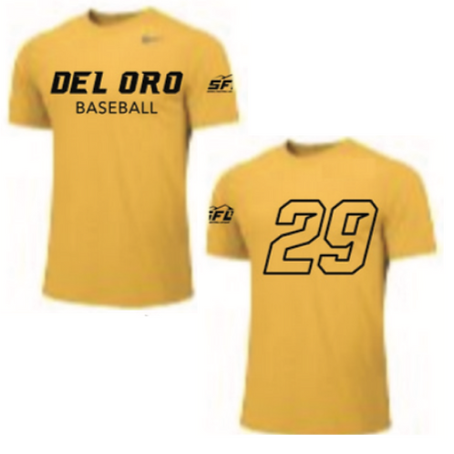 Varsity Required: Gold Game BP Top - Nike Team Legend Short Sleeve Poly Top