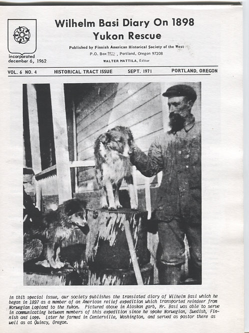 Wilhelm Basi Diary on 1898 Yukon Rescue