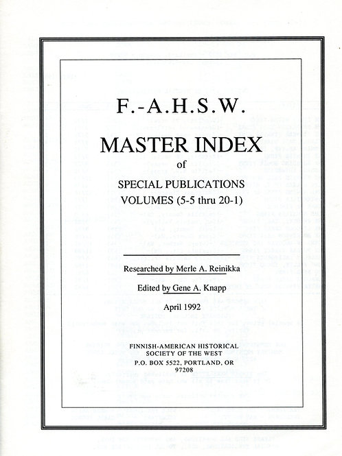 F.-A.H.S.W. Master Index of Special Publications