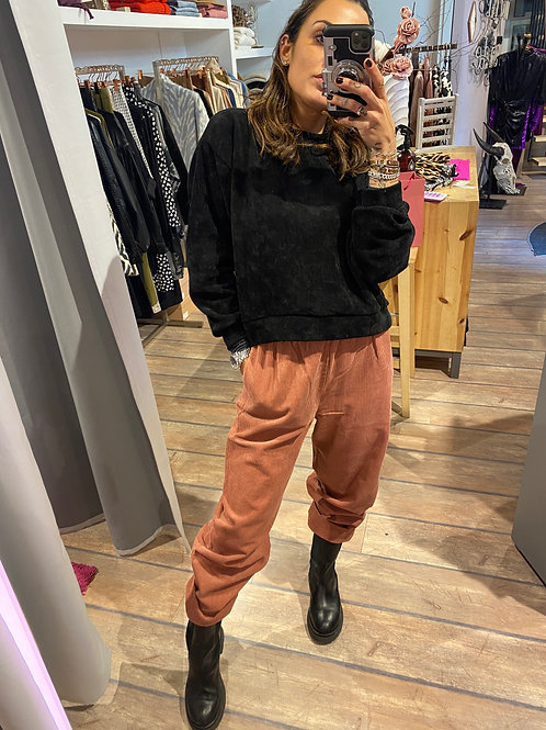 Pantalone morbido a costine in velluto blush