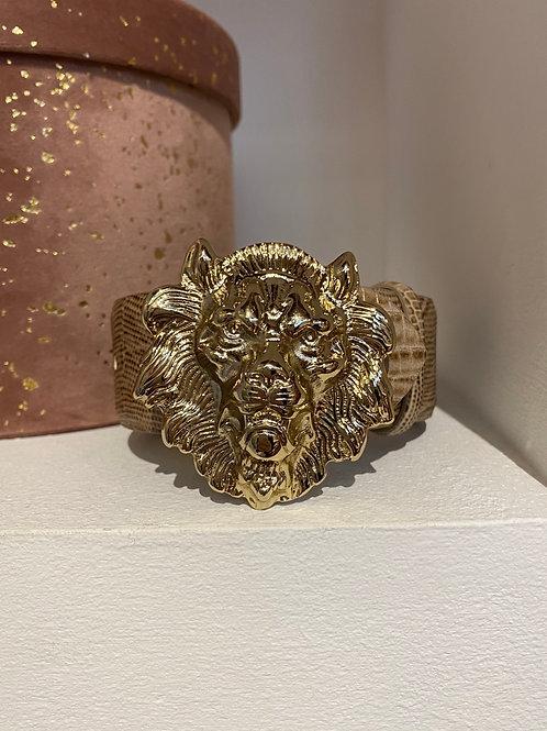 Cintura beige in vera pelle con fibbia leone oro