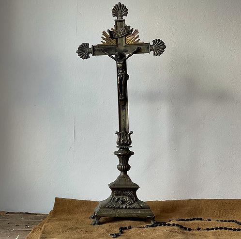 Vintage Metal Cross on Stand