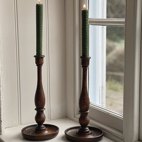 Tall Wooden Turned Candlestick