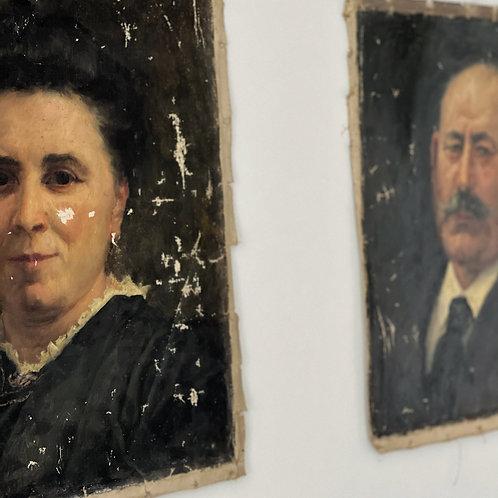 Vintage Oil on Canvas Portrait - Gentlewoman