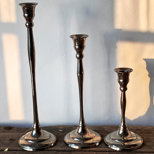 Trio Silver Plated Candlesticks
