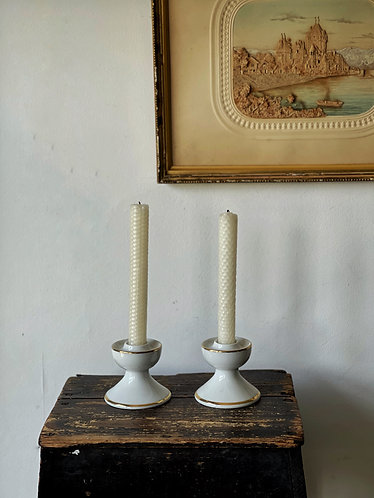 Pair Small White/Gold Candlesticks