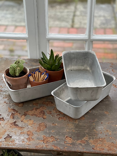 Small Oblong Galvanised Planters