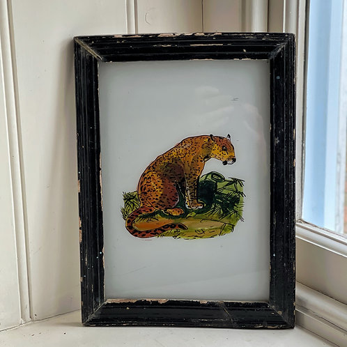 Vintage Indian Glass Leopard Painting