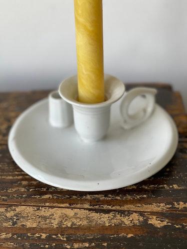 Vintage White Enamel Candlestick