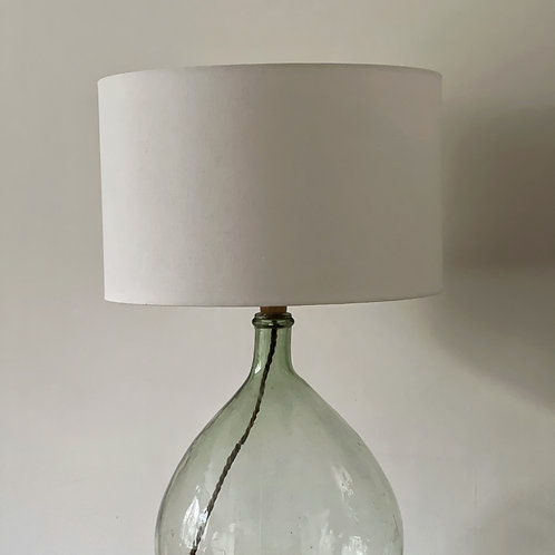 Vintage Linen Hand Dyed Lampshade - White