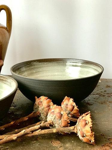 Black Clay Glazed Serving Bowl
