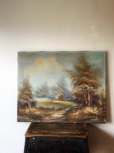 Cabin Scene Oil on Canvas