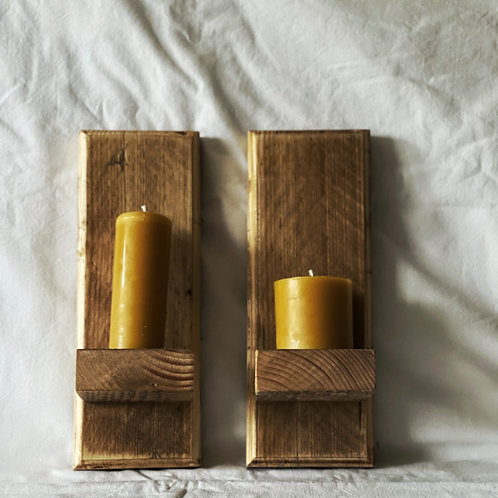 Wood Candle Sconce - Pair
