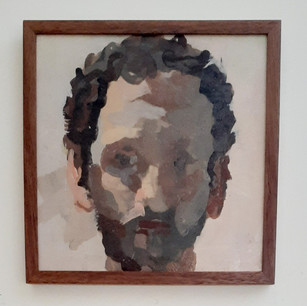 Alon Kedem, Self Portrait, 2009, oil on paper munted on board. Private Collection, Los Angeles, CA.