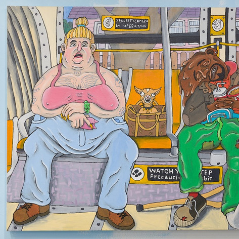 "Adar Aviam, To Union Station (Following Honoré Daumier's ""The Third-Class Carriage"", 1864), 2018, acrylic and ink on canvas, 36 x 60 inches"