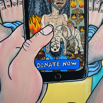 Adar Aviam, Donate Now - detail , 2018, Acrylic on canvas, 24 x 24 inches