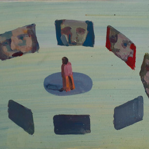 Alon Kedem, Group Talk, 2017, oil on paper, 9.5 x 14 inches.