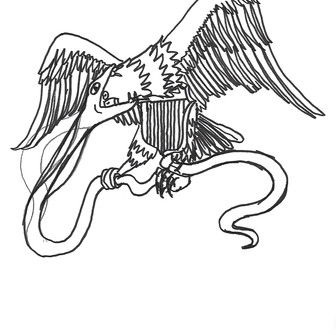 Preparatory drawing, Bald Eagle #1, 2018, Ink on Paper, 8.5 x 11 inches
