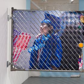 "Glen Wilson, Frutas / Flores, 2016,  49""x57"", Mixed Media: Aluminum, Chain Link, Printed UV Polystyrene - back side"