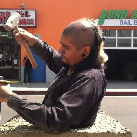 Rafa Esparza, Bust - a meditation on freedom, near Twin Towers Correctional Facility, Chinatown, April 11, 2015, Performance, video documentation in collaboration with Dorian Wood