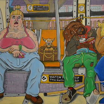 Adar Aviam, To Union Station, 2018, Acrylic on canvas, 36 x 60 inches