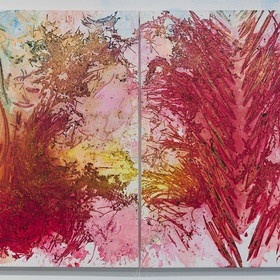 Rotem Reshef, Spectrum #1 - #2 (Diptych), 2018, Diluted acrylic and mixed media on two canvases, 36 x 48 inches